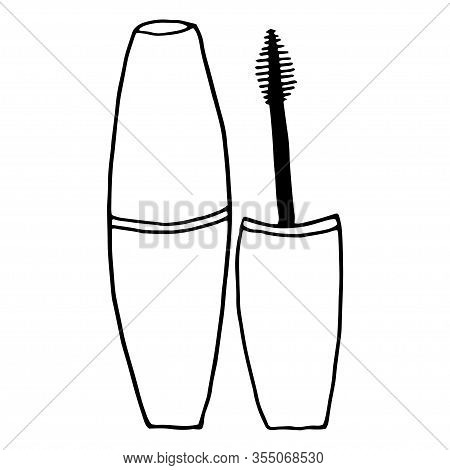 Mascara And Mascara Brush Isolated On White Background. Hand Drawn Simple Vector Illustration In Doo