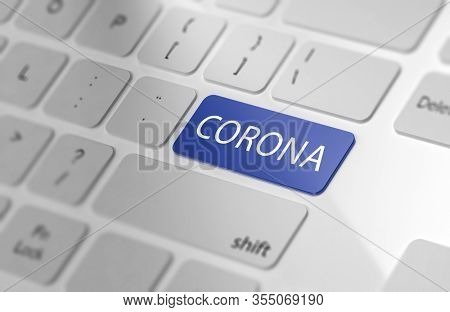 Corona Virus concept with keyboard text on a single large blue key on a white computer keyboard with selective focus and radial blur for copy space. 3D Rendering.