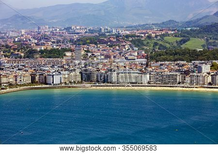 Spain, San Sebastian, May, 10, 2018 - View From Mount Igueldo On The Bay Of Biscay And City San Seba