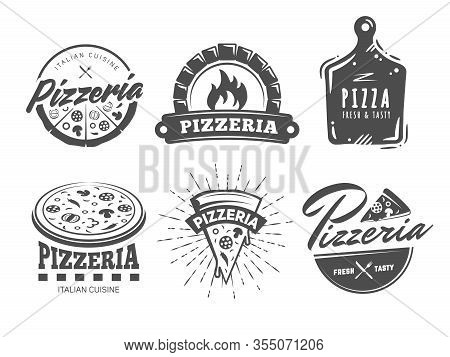 Pizzeria Logos. Set Of Vector Badges With Pizza, Full And Slices. Labels For Trattoria, Pizzeria, It