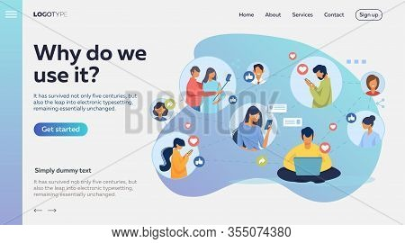 Social Media Network. Connected Users Taking Pictures, Posting, Chatting Flat Vector Illustration. I