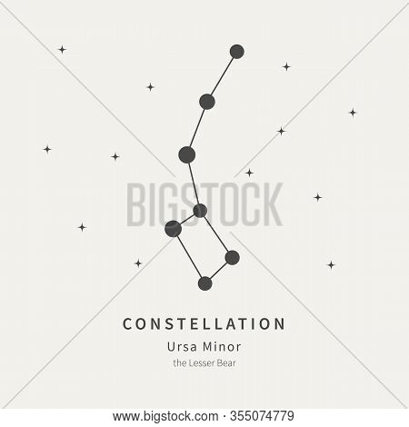 The Constellation Of Ursa Minor. The Lesser Bear - Linear Icon. Vector Illustration Of The Concept O