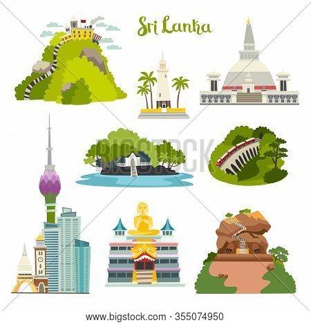 Sri Lanka island vector illustration collection.Ceylon architecture.Colombo skyline,Sigiria and Nine arches bridge. Buddhist stupa temple.Galle lighthouse Adam's Big Peak.Cartoon set isolated on white