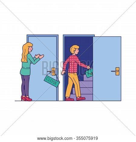 Man Entering By Open Door. Upset Woman Standing At Close Door, Facing Obstacle. Vector Illustration