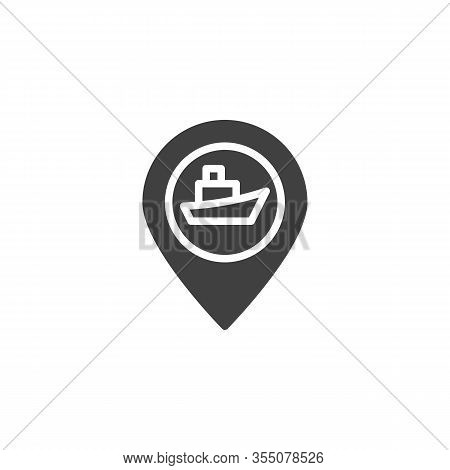 Cruise Ship Travel Vector Icon. Seaport Location Pin Filled Flat Sign For Mobile Concept And Web Des