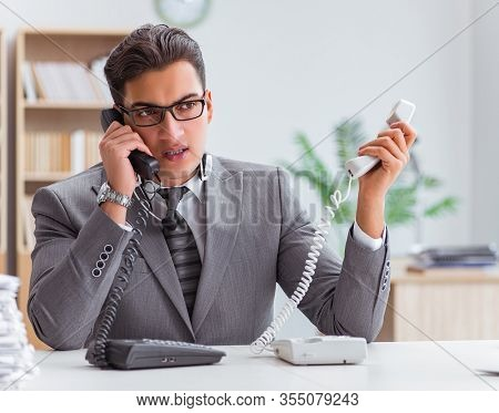 Angry helpdesk operator in the office