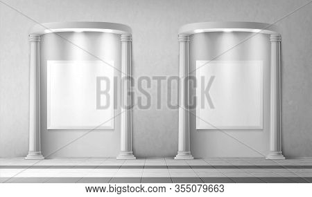 Arches With Columns And Illuminated Blank Signboards In Wall, Rectangular Interior Gates With White