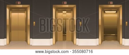 Golden Lift Doors. Office Hallway With Closed, Slightly Ajar And Open Elevator Cabins. Empty Interio