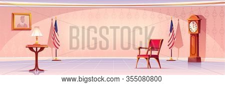 Empty Room For President Or Government Statesman With Lamp Stand On Wooden Table, Grandfather Clock,