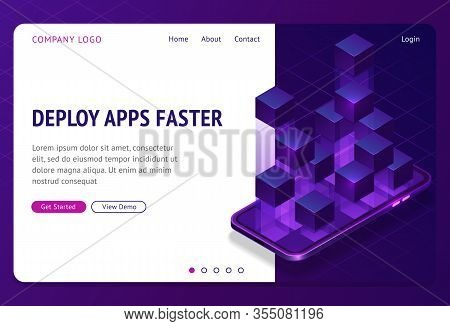 Deploy Apps Faster Isometric Landing Page. Application Containerization And Modular Software Develop