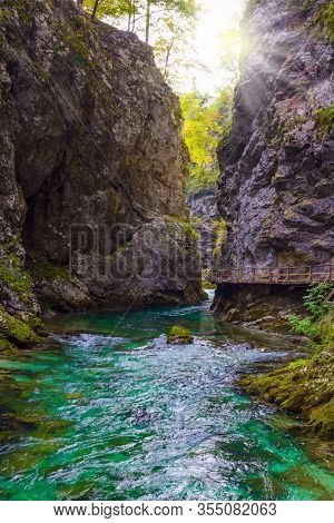 Slovenia. Vintgar gorge. Mountain river with azure water. Bubbling and roaring foamy rapids, rocks and rifts. The concept of active and photo tourism