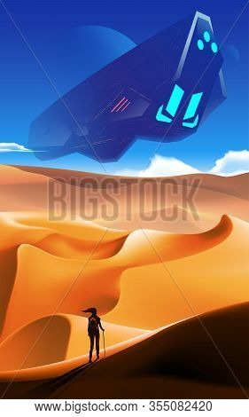 Science Imagery Illustration Of Desert With Spaceship