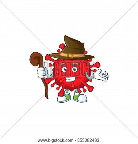 Sweet And Tricky Witch Dangerous Coronaviruses Cartoon Character
