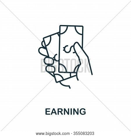 Earning Icon From Headhunting Collection. Simple Line Earning Icon For Templates, Web Design And Inf