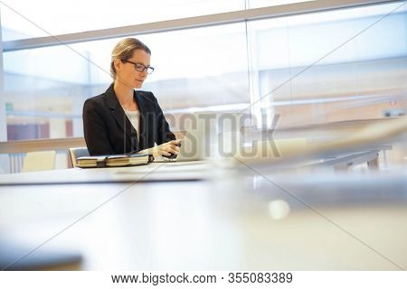 Executive woman in modern office working on laptop computer