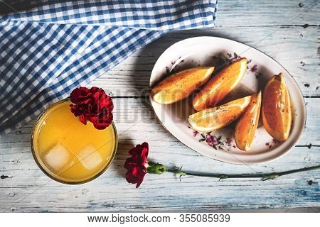 Orange Juice On Wooden Table. Orange Creative Healthy Food. Healthy Food Detox. Detox Food. Orange S
