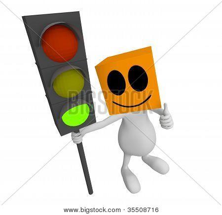 3D Little Cute People Green Traffic Light