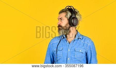 Rhythm Concept. Man Bearded Hipster Headphones Listening Music. Hipster Enjoy Excellent Sound Song I