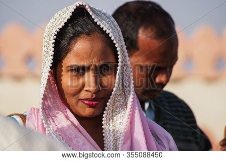 Bikaner, India - Dec 29, 2019: Indian Rajasthani People In National Clothes In The Streets Of Bikane
