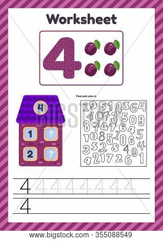 Worksheet Count For Kids. House. Number Bonds. Trace Line. The Study Of Mathematics For Children Of