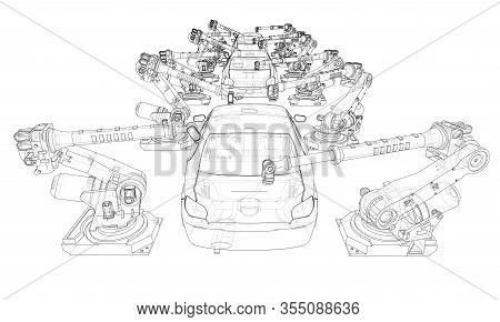 Assembly Of Motor Vehicle. Robotic Equipment Makes Assembly Of Car. Blueprint Style. Vector Renderin