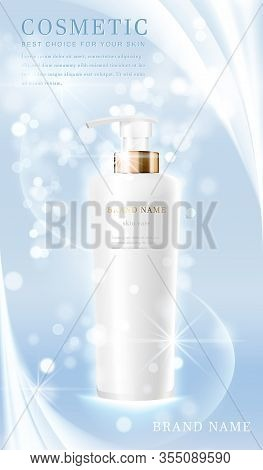 3D Elegant Cosmetic Bottle Container With Shiny Light Blue Glimmering Background Template Banner.