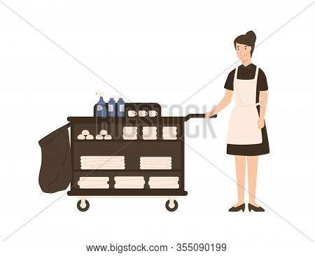 Smiling Cartoon House Maid Standing With Pushcart Vector Flat Illustration. Friendly Female Hotel St