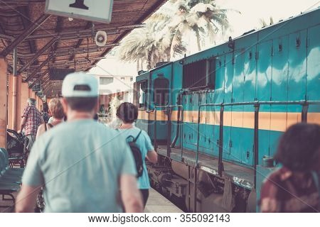 People Locals And Tourists Go On 1 Track Of The Railway Station Platform In Galle Sri Lanka