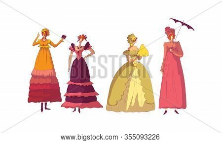 Women In Standing Pose Wearing Old-fashioned Dress Vector Set