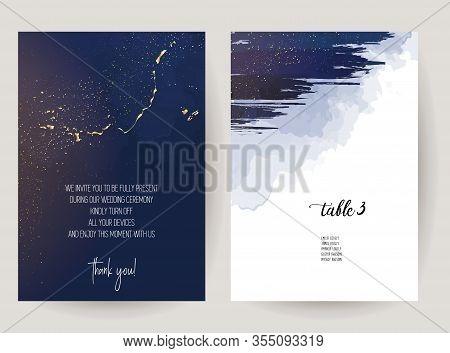 Magic Celestial Sky Vector Design Cards. Night Dark Blue Clouds With Sparkling Stars Wedding Invitat