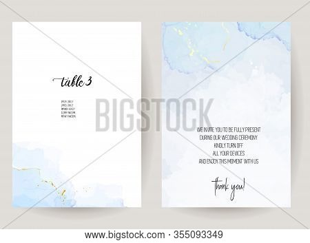 Stylish Dusty Blue Liquid Ink Vector Design Cards. Set Of Brush Painted Art Cards. Winter Wedding In