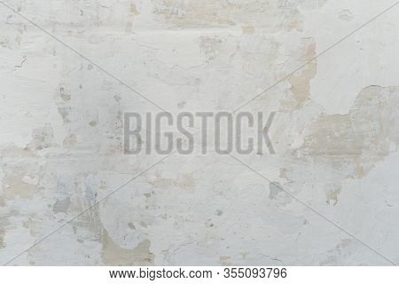Stucco White Wall Background Or Texture Stucco. Abstract Background With Empty Space For Your Design