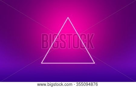 White triangle outline on pink and purple