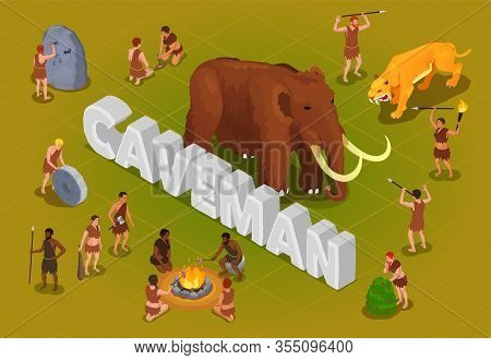 Caveman Prehistoric Primitive People Composition With 3d Text Surrounded By Isolated Human Character