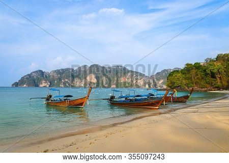 Longtail Boats Moored At The Long Beach, Phi Phi Islands, Krabi Province, Thailand