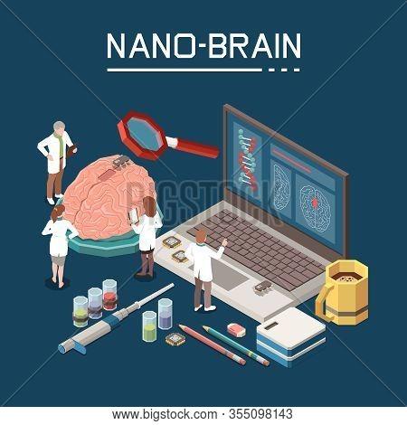 Nanotechnology Research Symbols Artificial Nano Brain Creation Process Laboratory Staff Coffee Micro