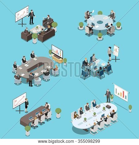 Modern Conference Meeting Room Elements Isometric Set With Boardroom Tables Participants White Board
