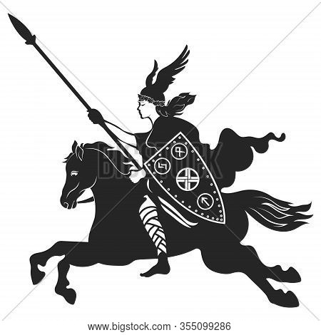 Viking Design. Valkyrie On A Warhorse, Illustration To Scandinavian Mythology, Drawn In Art Nouveau