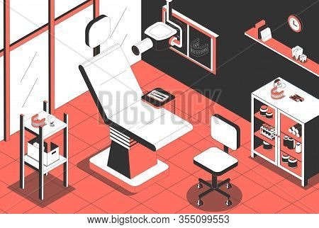 Dental Clinic Orthodontist Office Interior With Patient Chair Xray Machine Instruments Implant Proth