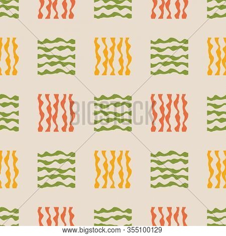 Vector Abstract Gingham Seamless Pattern Background. Small Orange, Green Squares Backdrop. Painterly