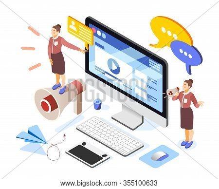 Brand Building Isometric Composition With Women Entrepreneurs Team Online Advertising Website Deskto