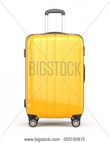 Stylish Orange Suitcase on wheels isolated on white. Travel concept - suitcase 3d icon. 3d rendering