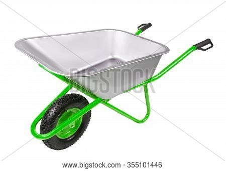 Empty Construction One-wheel Wheelbarrow  Isolated On White Background
