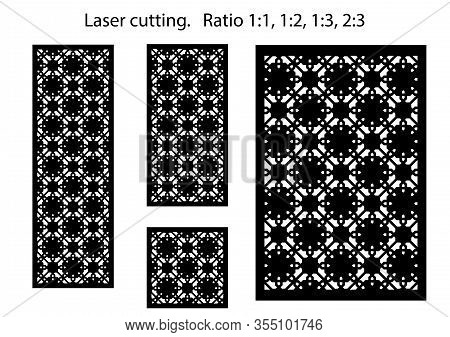 Set Of Decorative Vector Panels For Laser Cutting. Template For Interior Partition In Arabesque Styl