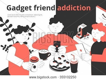 Gadget Addiction Isometric Composition With Fastfood Cafe Visitors And Waiter Scrolling Smartphones