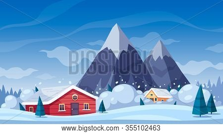 Natural Disaster Cartoon Composition With Winter Landscape And Mountains With Snow Avalanche Gliding