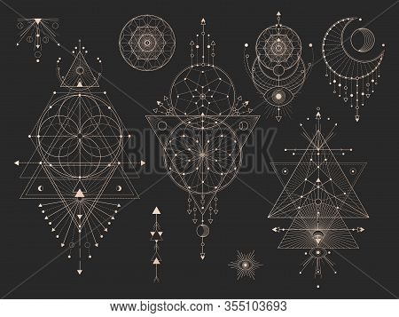 Vector Set Of Sacred Geometric Symbols With Moon, Eye, Arrows, Dreamcatcher And Figures On Black Bac