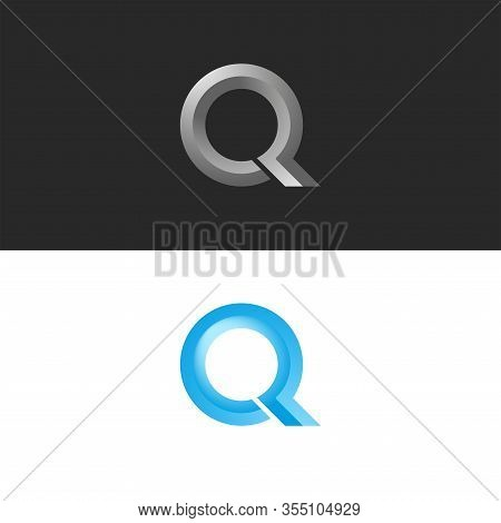 Monogram Set Letter Q Logo 3d Shape Calligraphic Typography Design Element, Faceted Circle Shape, St