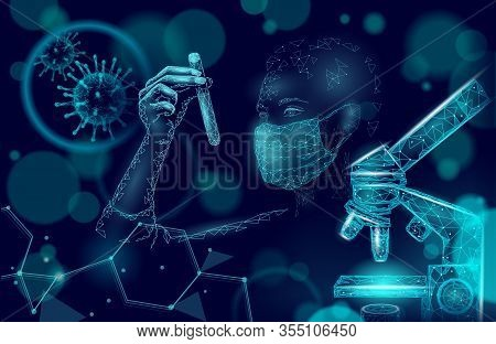 Woman Doctor Scientists Hold Test Tube. Safety Medical Mask Virus Microscope Vaccine. Developing Pan
