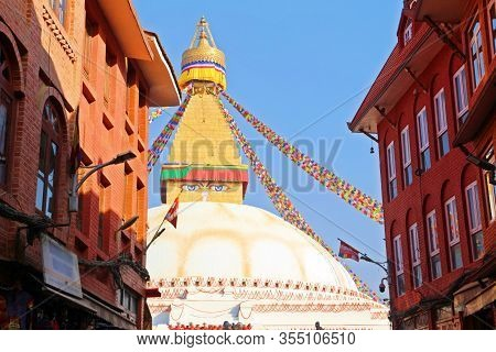 Seeing Eyes Of Buddha At Boudhanath Stupa, One Of The Largest Spherical Stupas In In Kathmandu, Nepa